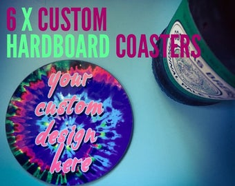 6 x glossy hardboard drink coasters with your photo quality custom design