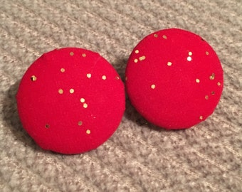Red and gold glitter fabric covered button earrings