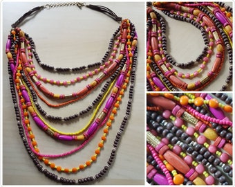 Funky multi strand necklace - warm colours - beaded necklace - handmade multi strand necklace