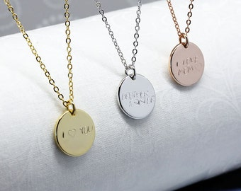 Silver/Rose gold  Initials Coin Charm Thick Necklace-handwriting,Monogram necklace,Hand stamped,engagement gift,Custom Jewelry,birthday gift