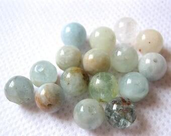 Aquamarine 8mm Natural Round Beads