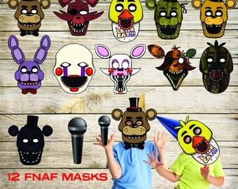 FNAF masks, FNAF photo booth, Five Nights at Freddy's masks, Photo party booth, masks, fnaf mask, fnaf party, fnaf costume, mask, fnaf