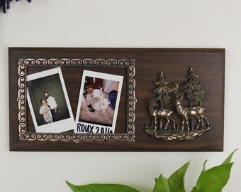 Faux wood/ Particle Board and Resin Frame/ Plaque with Deer in a Forest