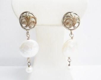 Pearl Earrings, Vintage Earrings, Vintage Pearl Earrings, Dangle Earrings, Sterling Silver Round Pearl Dangle Drop Earrings #2127