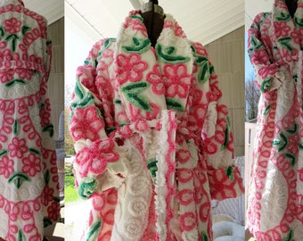 Pink Swirls Twirls & Curls Chenille Robe ~ Handmade Plush Vintage Bathrobe ~ from Gorgeous Chenille Bedspread - May fit up to 1x