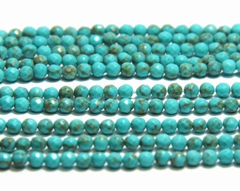 Synthetic Turquoise 3mm Faceted Beads Blue Turquoise Beads Small Blue and Green Beads Tiny Green Turquoise Beads Blue Delicated Jewelry Bead
