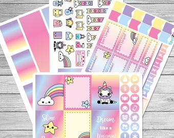 Kawaii Unicorn Planner Sticker Kits for use with the Erin Condren LifePlanner™