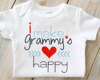 I Make Grammy's Heart Happy-Baby Boy Onesie-Baby Girl Onesie-Custom Onesie-Grammy-Nana-Gigi-PaPa-Grandpa-Paw Paw-Grandparents-Heart-Mimi