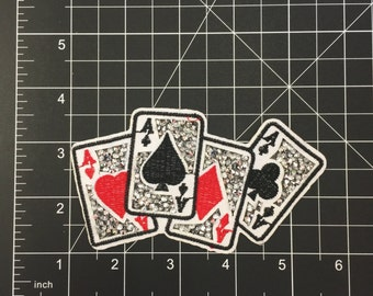 4 Aces Iron on Patch with Crystals Free Shipping!!