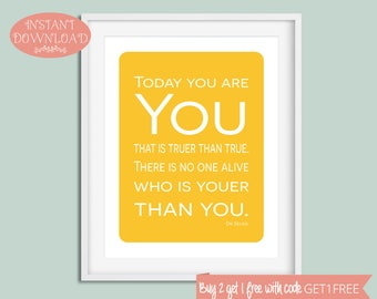 Nursery Printable, Dr Seuss Nursery, Nursery Wall Art, Printable Nursery Art, Printable Dr Seuss, Printable Quote, Instant Download, Nursery