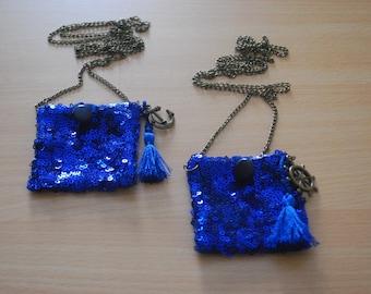 Sparkly Metallic Blue Pocket Long Necklace - Náutica Collection