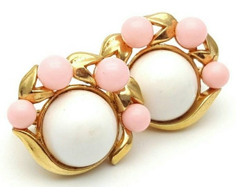 Vintage 50s Signed Trifari Clip on Earrings Signed Vintage clip-on Gold tone Blush Pink and White