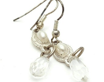 Miniature Teardrop Silver Tone Drop Earrings Clear Rhinestone Vintage from the 90s Cute girl's gift Small Tiny Mini Half Faux Pearl