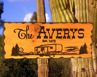 C-02 Custom personalized hand crafted deep carved  western red cedar wood sign  camper, RV, fifth wheel trailer, motor home, name, address