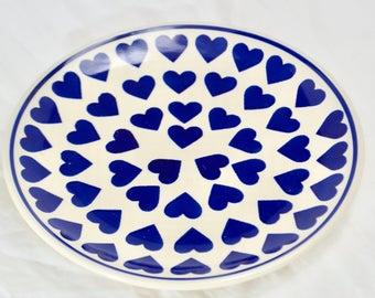 Hand Painted Polish Pottery Dinner and Side Plates - Vintage Tea Set- Blue Heart