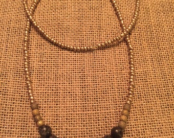 Olive green long beaded necklace