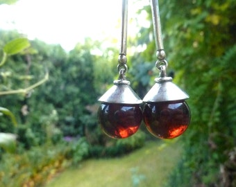Sterling Silver Amber Earrings Handmade Amber Jewelry Natural Red Amber Earrings Organic Gift