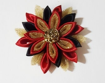 Kanzashi Flower, Hair Flower, Flower Hair Clip, Red Hair Flower, Red Hair Clip, Red Hair Bow, Gold Hair Clip, Gold Hair Bow