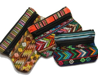 Handmade embroided Mexican Mayan folk art multi-coloured purse or make up bag / Cosmetic bag / Cotton Pouch / Free UK shipping