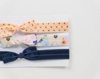 Set of 3 Elastic Bow Headbands | Peach Dots - Blue Flowers - Navy Blue