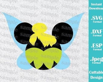 INSTANT DOWNLOAD SVG Disney Inspired Tinkerbell Mickey Ears for Cutting Machines Svg, Esp, Dxf and Jpeg Format Cricut Silhouette