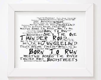 Noir Paranoiac BRUCE SPRINGSTEEN Art Print Typography Lyrics Poster - Signed & Numbered Limited Edition Unframed 10x8 Inch Album Wall Poster