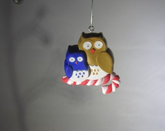 Duo Owls Perched on a Candy Cane Ornament