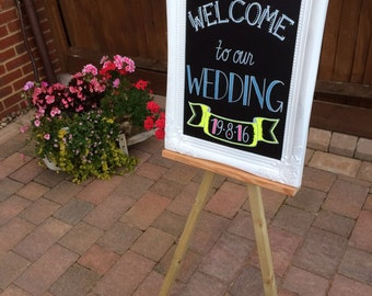 Wedding sign, chalk board, wedding chalk board sign, chalk board and easel, party sign, personalised chalk board sign