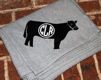 Cow Sweatshirt Stadium Blanket, personalized sweatshirt blanket, personalized blanket, monogrammed blanket, personalized throw