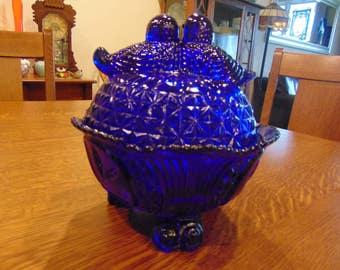 Vintage Cobalt Blue Love Birds Candy Dish