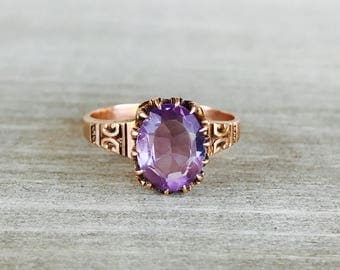 Rose gold and amethyst victorian ring