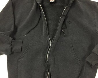 Vintage Plain Black Hoodie vintage 1980s Paper thin hooded sweatshirt Mens size Small womens size Medium JCPenney USA Olympics