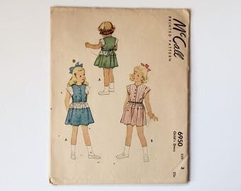 RARE 1940s Girls age 3 Summer Dress Sewing Pattern  : McCall's 6950