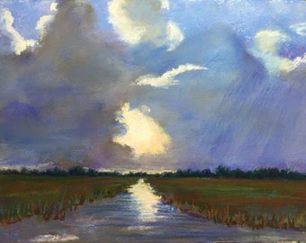 """Original Impressionist Pastel Painting, 9"""" x 12"""" Storm Clouds over the Marsh"""