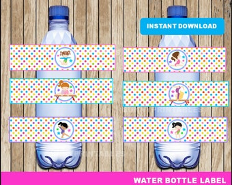 Gymnasitcs water bottle labels; printable Gymnasitcs water, Gymnasitcs party water bottle instant download