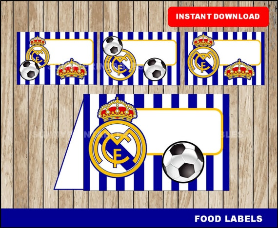 Real madrid food labels printable real madrid tent cards - Real madrid decorations ...
