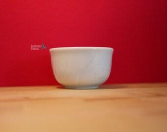 Korean vintage art, Carved Four Gracious Plants teacup, white porcelain