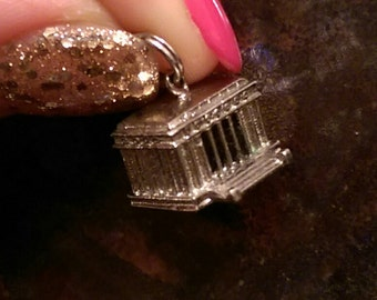 Vintage sterling Lincoln memorial charm, lincoln memorial vintage sterling pendant