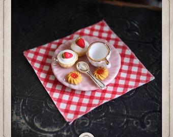 KIT CREATION ring adjustable diy taste, tea, cakes, jam, cakes strawberry, spoon, ceramics, food, kawaii, KC001