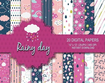 Rain digital paper, rain pattern, rain background, cloud digital, cute cloud, umbrella background, flower digital paper, rainy digital