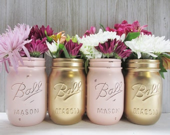 Painted Ball Mason Jars-Flower Vases- Matallic Gold and Blush-Light Pastel Pink/Rose Quartz-Rustic/Wedding/Baby Shower/Centerpieces