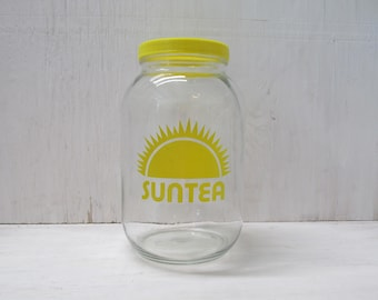 Vintage Yellow- Sun Tea Jug/Jar/Pitcher-Glass- Anchor Hocking