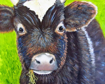 Cow painting original oil farm animal painting 8x8 small painting
