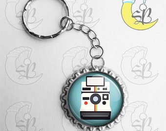 Retro Polaroid Camera - Flattened Bottle Cap Key Chain
