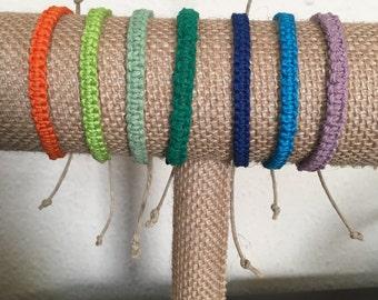 Square Knot Hemp Bracelet - Men and Women - 7 Colors Available