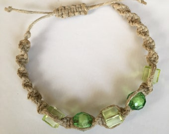 Green Beaded Spiral Hemp Bracelet - Adjustable - Men and Women
