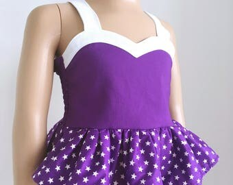 Peplum top with sweetheart neckline - purple and white - sizes Newborn to 16 years