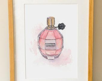 FLOWERBOMB Viktor & Rolf Perfume - Modern Wall Art - Bathroom Decor - Fashion - Watercolor Print