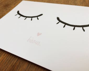 """Love"", illustration, eyes, A6 card"