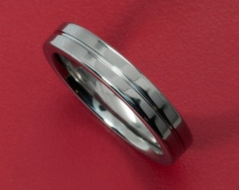 Elegant 4MM Flat  Titanium Ring with Polished Finish and Center Groove
